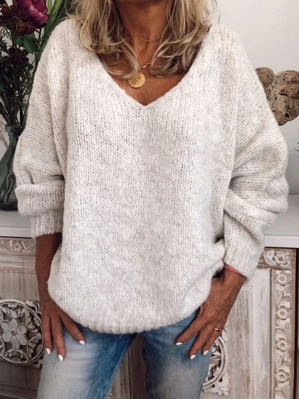 WHITE SOLID ELEGANT LONG SLEEVE SWEATER FOR LADY