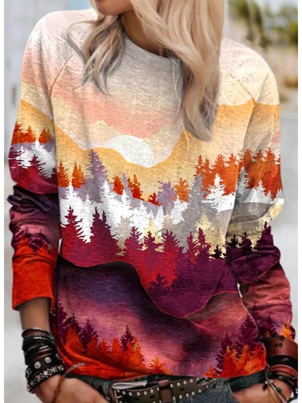 Women's mountain print sweatshirt
