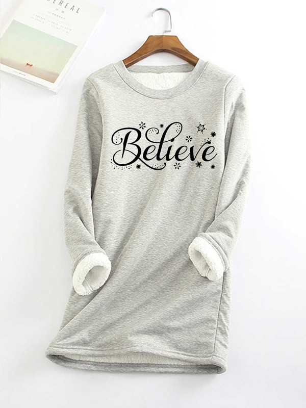Believe Casual Round Neck CottonBlend Solid Hoodies