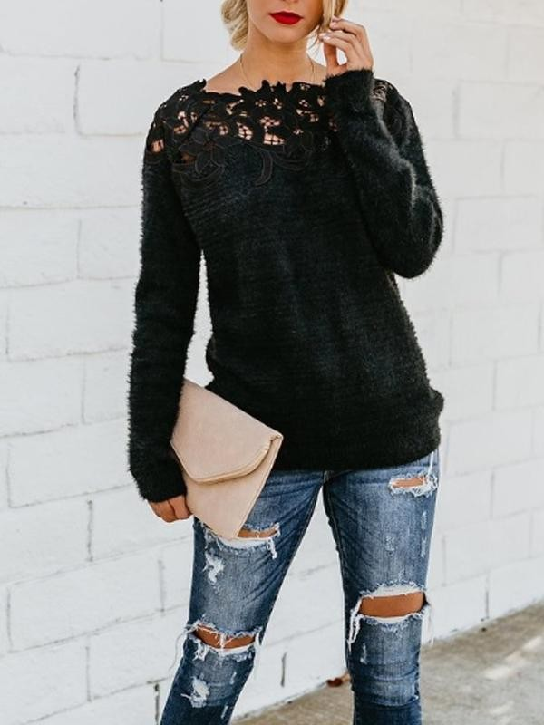 Women Mohair Sweater Black Crew Neck Elegant Long Sleeve Sweater