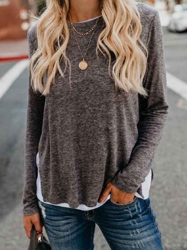 Long Sleeve Solid CottonBlend Shirts