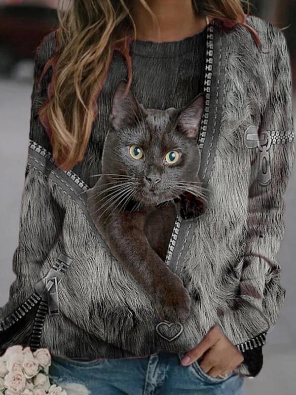 Black Cat Print Long Sleeves Oneck Casual Sweatshirt For Women