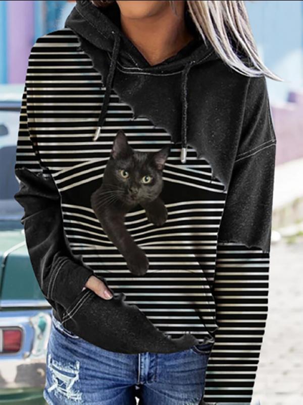 Black Cat Print Patchwork Striped Long Sleeve Hooded Sweatshirt