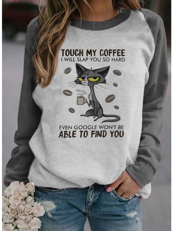 Letter Cat Print Long Sleeve Casual Sweatshirts
