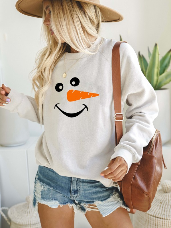 Christmas Snowman Face Long Sleeve Cozy Sweatshirt