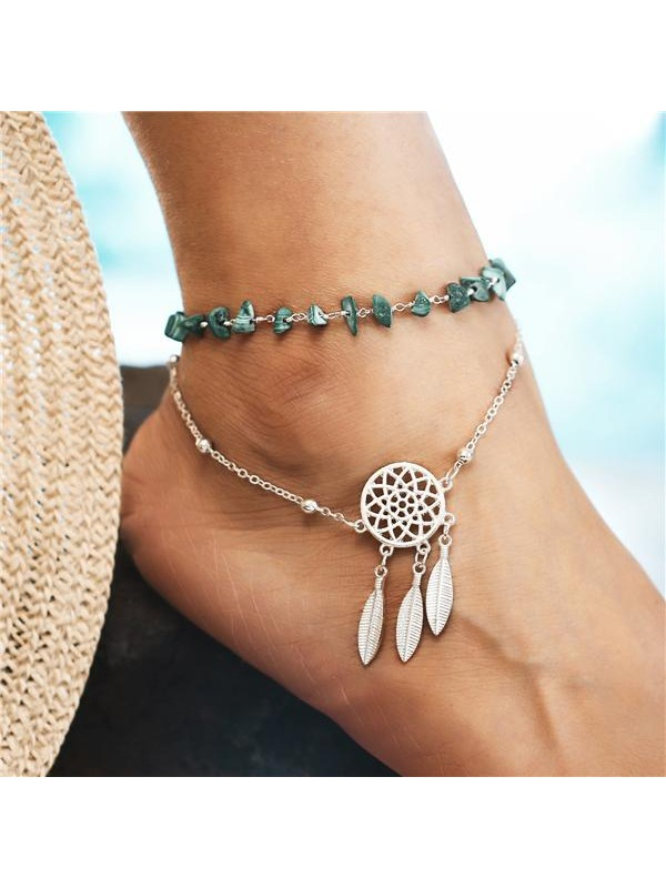 Dream Catcher Turquoise Anklet