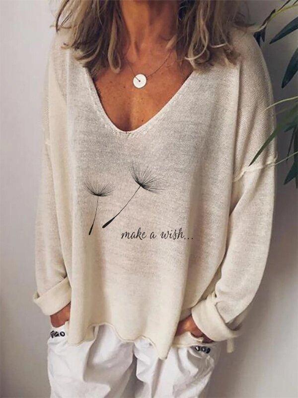 Women's Vneck Long Sleeve Faith Over Fear Letter Print Tshirt