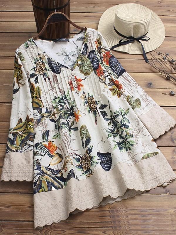 Floral Printed Vneck Long Sleeve Shirt