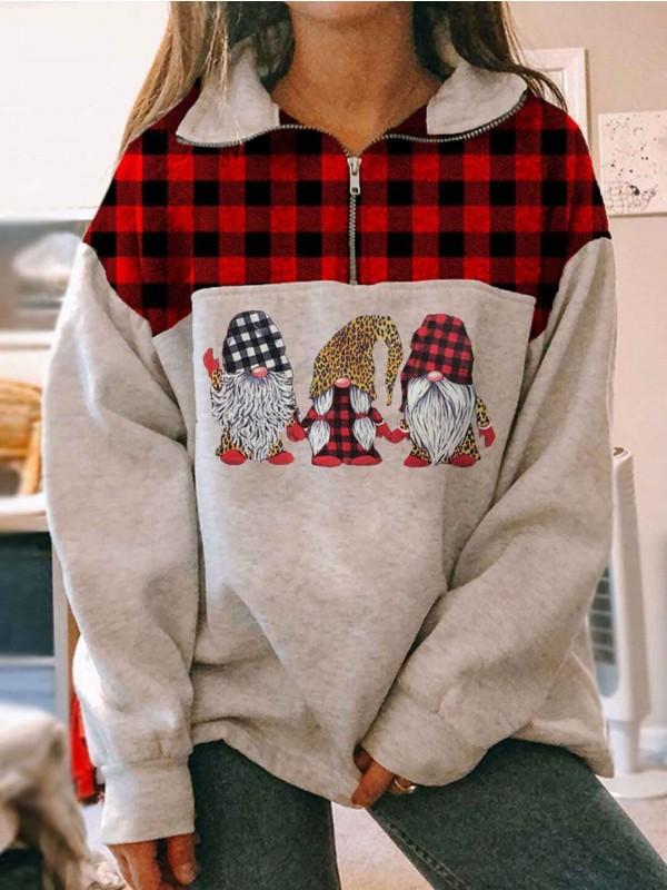 Women's Christmas Gnome Print Stitching Plaid Zipper Sweatshirt