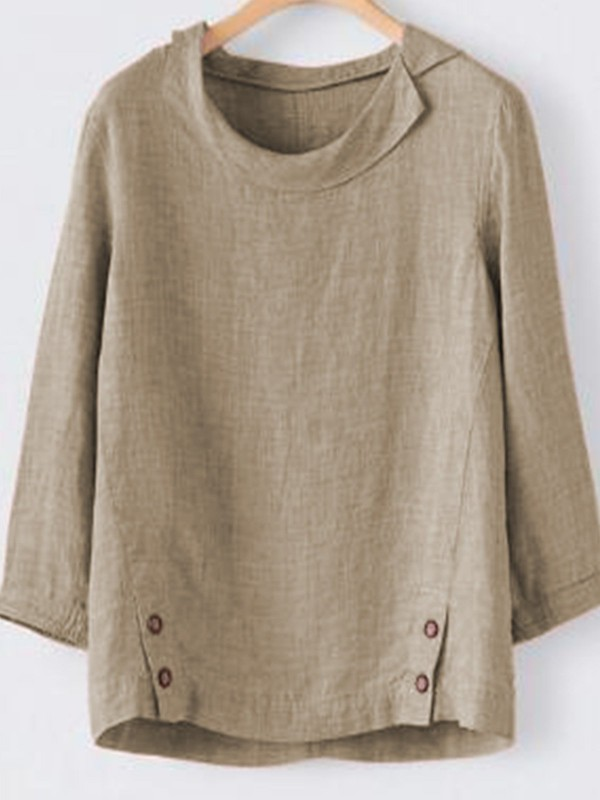 Casual 3/4 Sleeve Buttoned Shirt