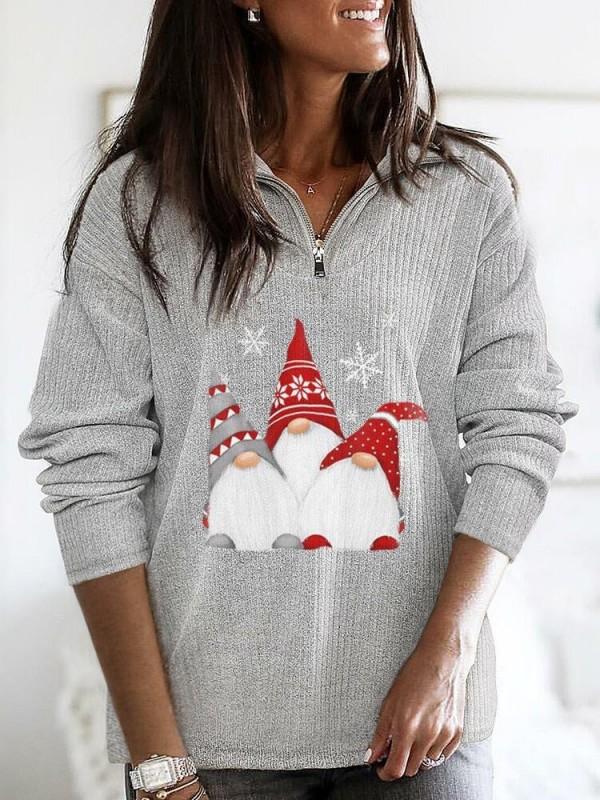 Women's Scandinavian Christmas Gnome Zip Casual Top