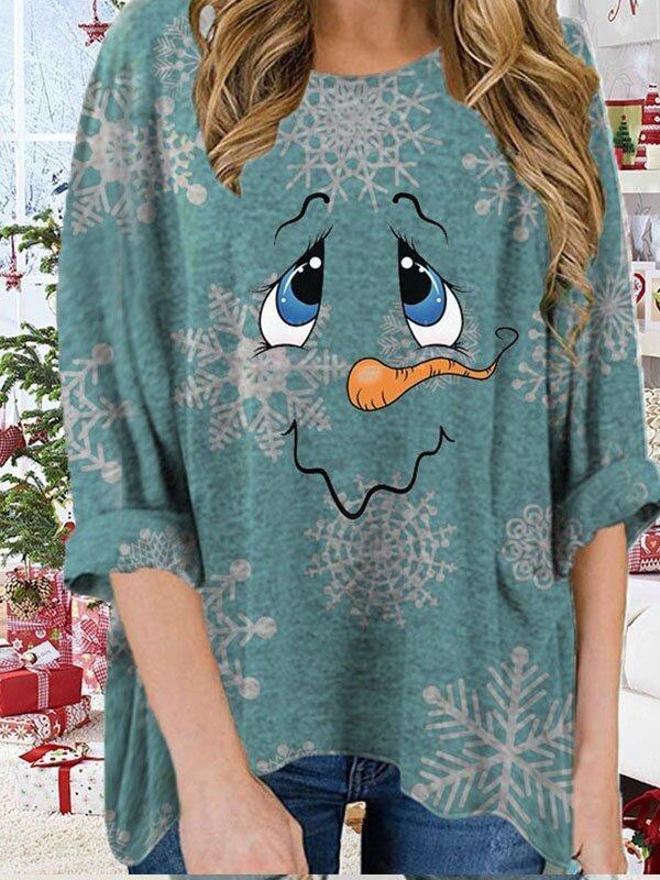 Women's loose Christmas snowflake snowman print long sleeve Tshirt