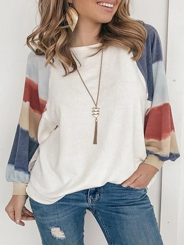 Women's Color Block Stitching Long Sleeve Sweatshirt