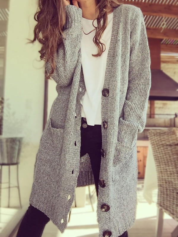Button Down Long Knitted Cardigan Doble Pockets Plus Size Outerwear