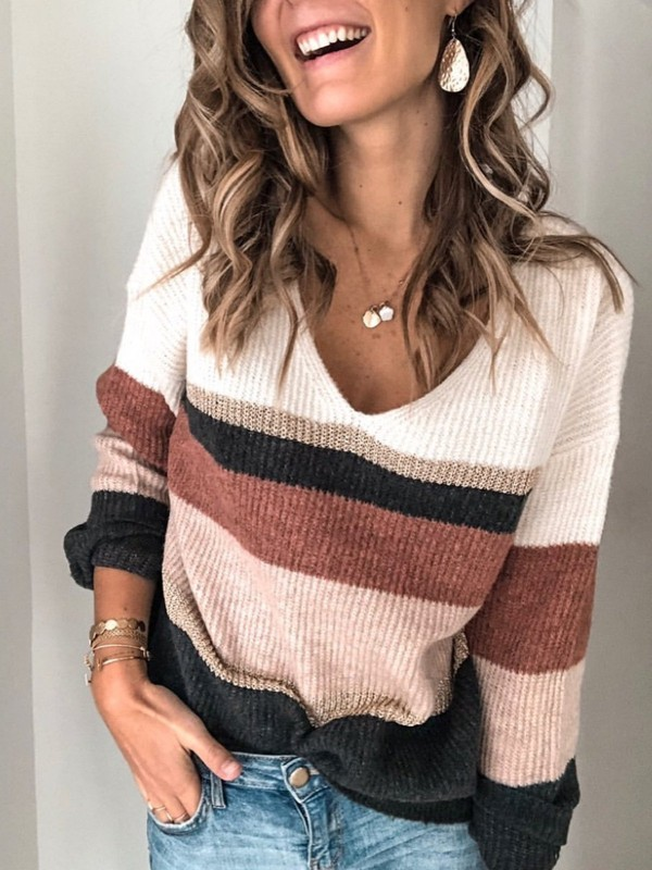 Colorblock Vneck Casual Long Sleeve Sweater