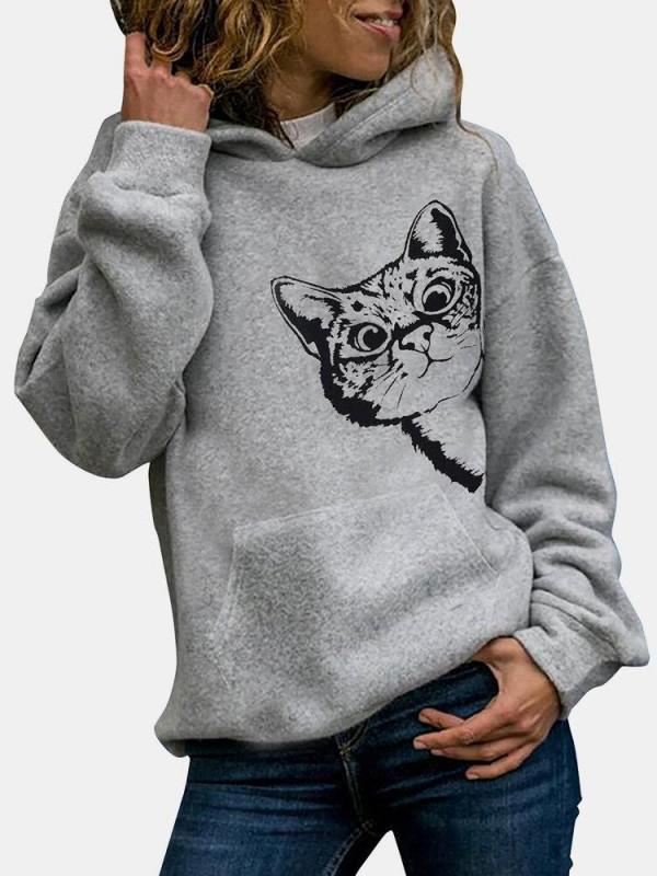 Cat Print Long Sleeve Pocket Casual Hoodie For Women
