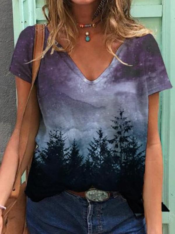 Ladies Starry Sky Forest Print Short Sleeve Tshirt