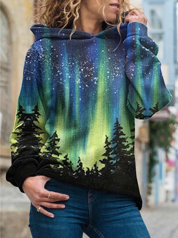 Ladies Long Sleeve Loose Printed Sweatshirt