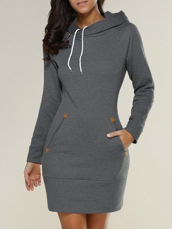 Deep Gray Solid Casual Hoodies Sweatshirt