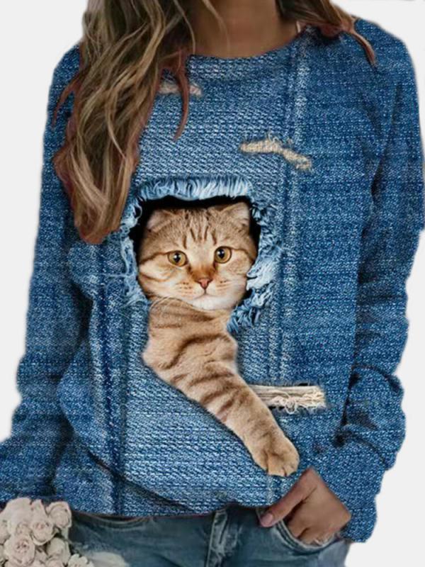 Cute Long Sleeve Crew Neck Printed Sweatshirt for Women