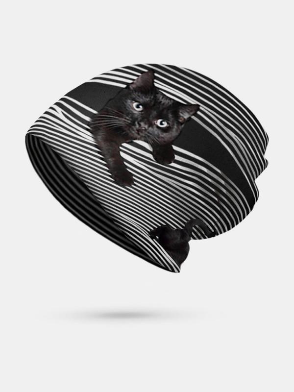 Women Plus Velvet Cat Print Stripe Pattern Soft Personality Breathable Turban Cap Beanie