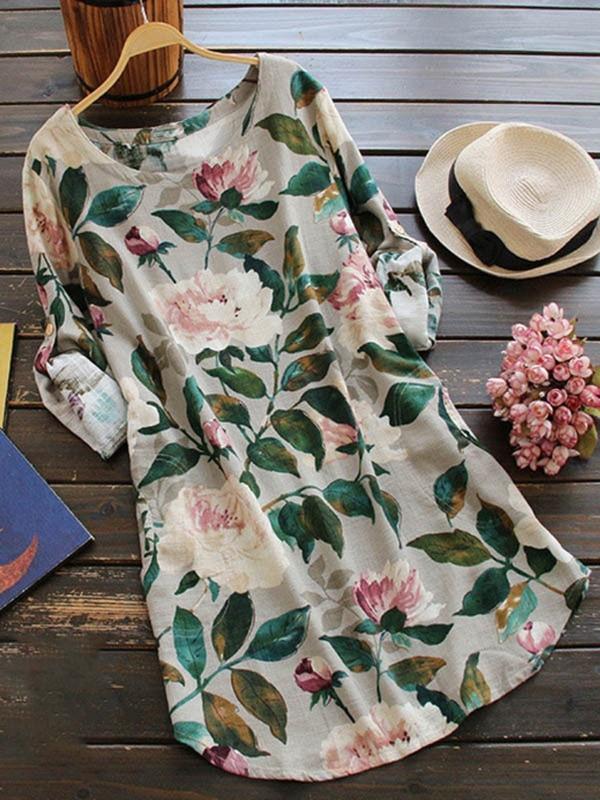 Women's Long Sleeve Crew Neck FloralPrint Dress