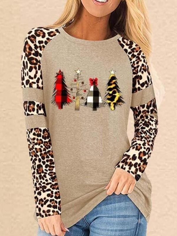 Ladies Wild Christmas Tree Leopard Print TShirt