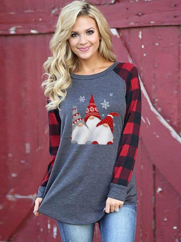 Women's Scandinavian Christmas Gnome Print Casual Top