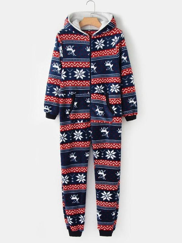 Plus Size Women Christmas Snowflake Elk Pattern Zip Front Ear Design Flannel Hooded Onesies With Pocket