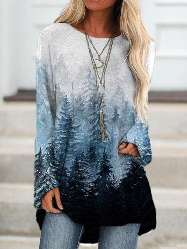Loose casual round neck forest print sweatshirt