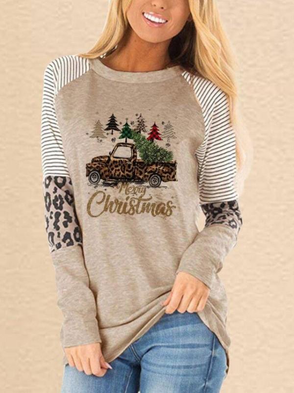 Ladies Merry Christmas Christmas Tree Truck Print Leopard Tshirt