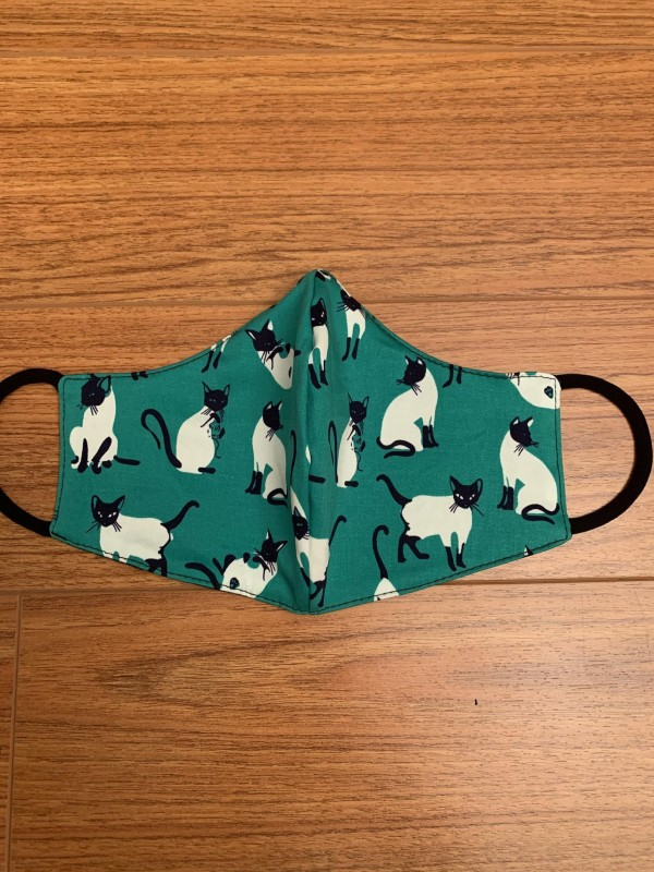 CAT PRINT GREEN FACE MASK WITH FILTER WASHABLE