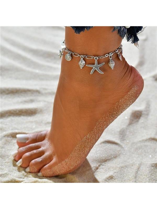 Wild Starfish Shell Tassel Anklet