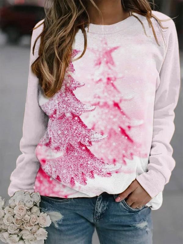 Women's Pink Christmas Tree Sweatshirt
