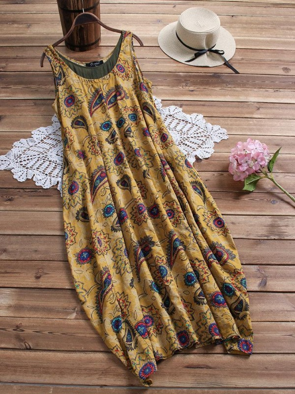 Bohemian Sleeveless Print Layers Baggy Pocket Plus Size Dress