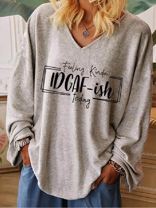 Ladies IDGAFISH Letter Print Hooded Sweatshirt