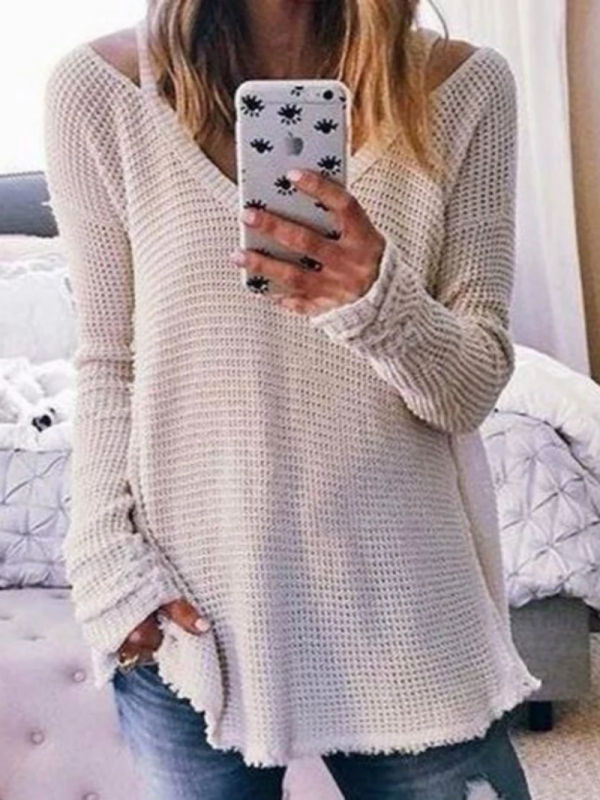 WHITE SOLID V NECK LONG SLEEVE SHIRTS & TOPS