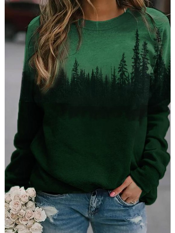 Treetop Silhouette Casual Sweatshirt