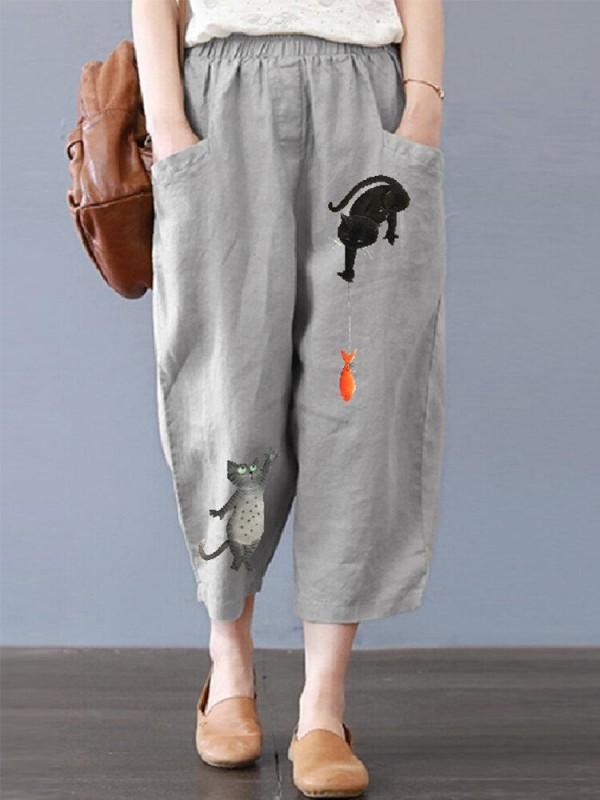 Cartoon Cat Print Pockets Elastic Waist Plus Size Harem Pants