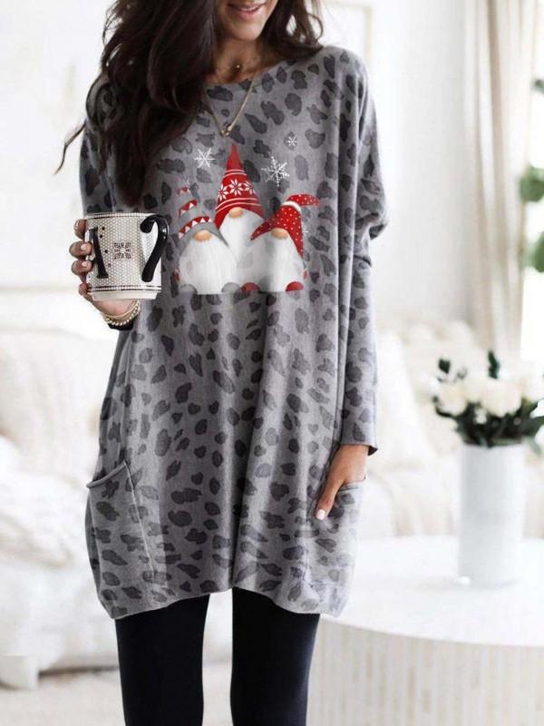 Women's Scandinavian Gnomes Christmas Leopard  Print Long Shirt