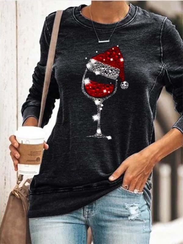 (promotion ends)Women's Christmas Wine Glass Print Sweatshirt