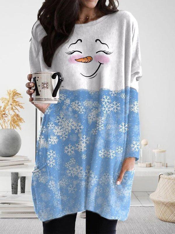 Christmas Snowman Girl Snowflake Print Casual LongSleeved MidLength TShirt