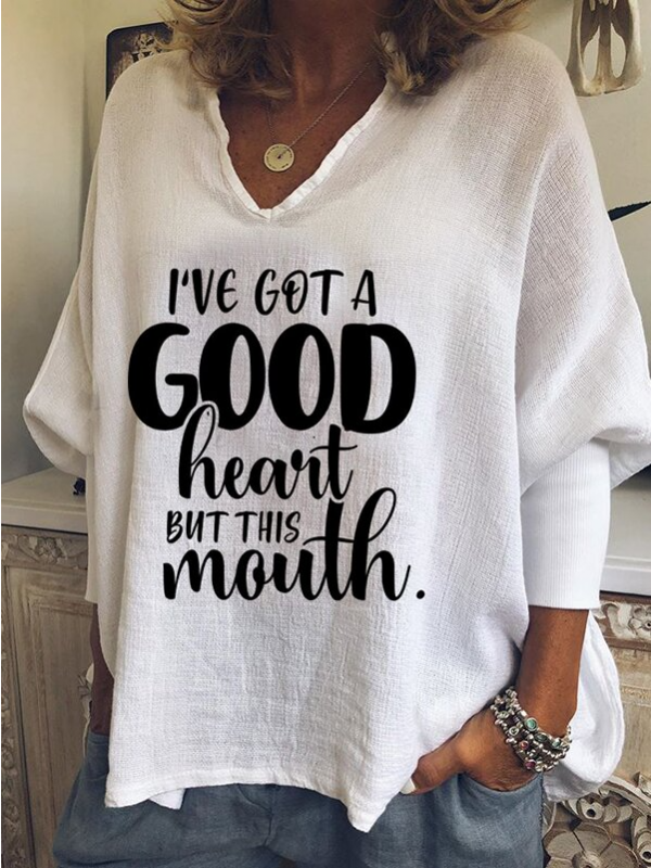 Women's I've Got A Good Heart But This Mouth Vneck casual Tshirt