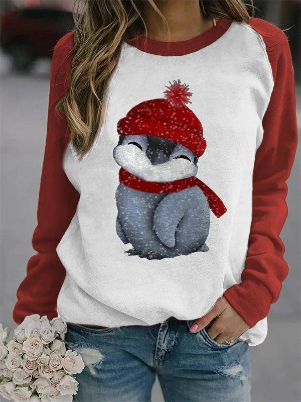 Ladies Penguin Print Sweatshirt