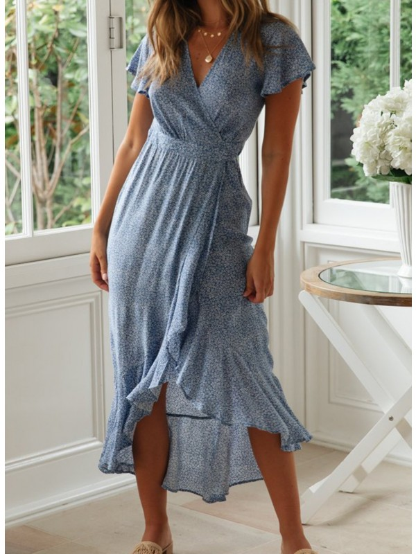 V Neck Flowy Sleeve Floral Wrap Maxi Dress