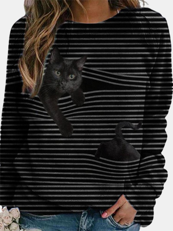 Cat Print Long Sleeve Black Striped Plus Size Tshirt