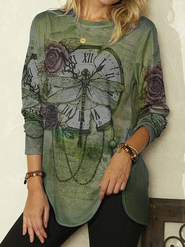 Vintage Printed Long Sleeve Oneck Asymmetrical Blouse For Women