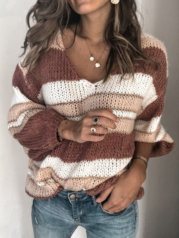 V Neck ColorBlock Striped Casual Lady's Sweaters