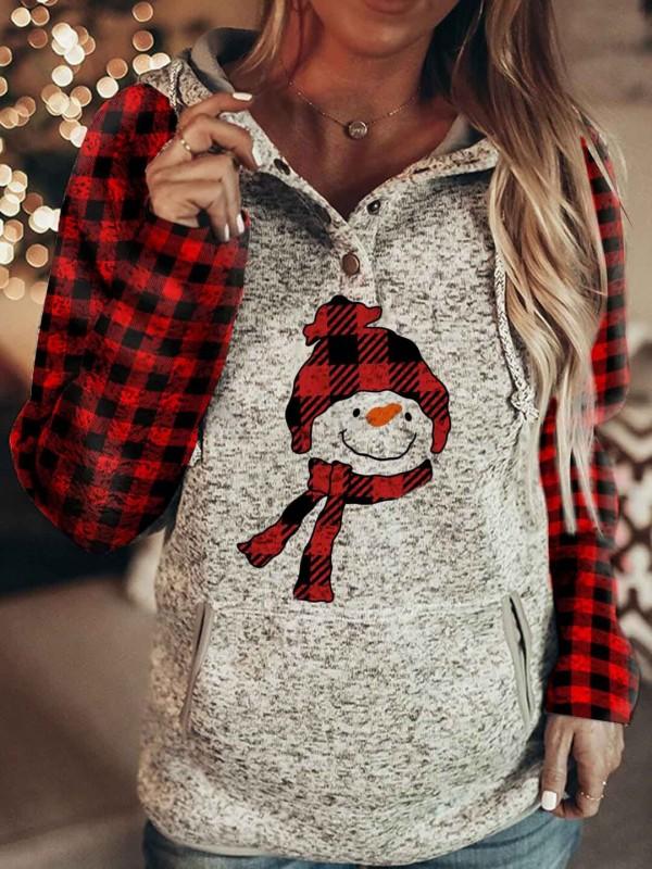 Women's Christmas Plaid Printed Snowman Comfortable Hoodie