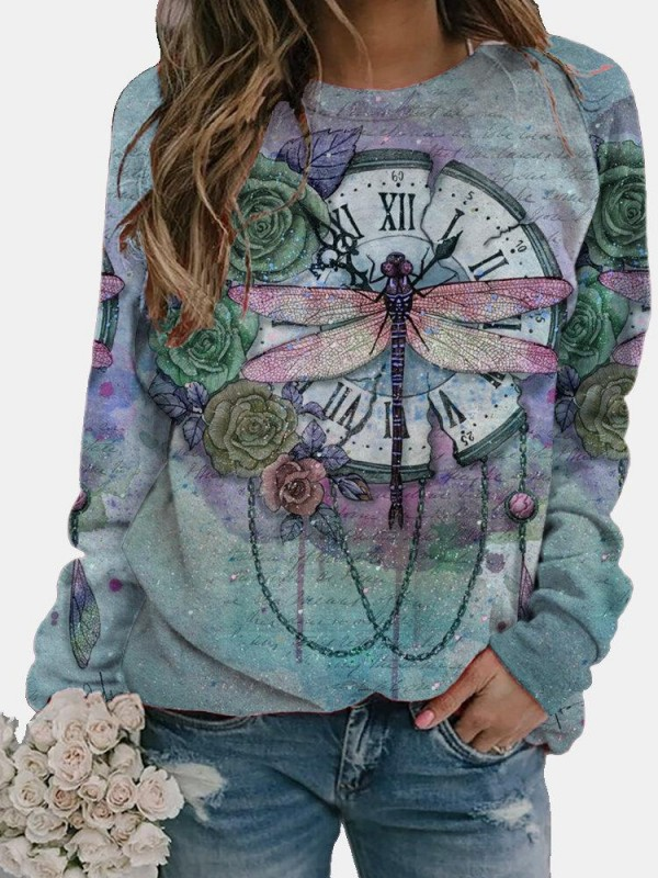 Vintage Dragonfly Printed Long Sleeve Oneck Tshirt For Women